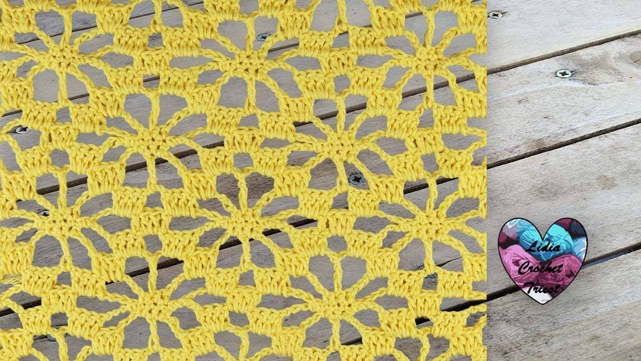 point fleurs ajour u00e9 crochet   punto flores caladas tejido a crochet