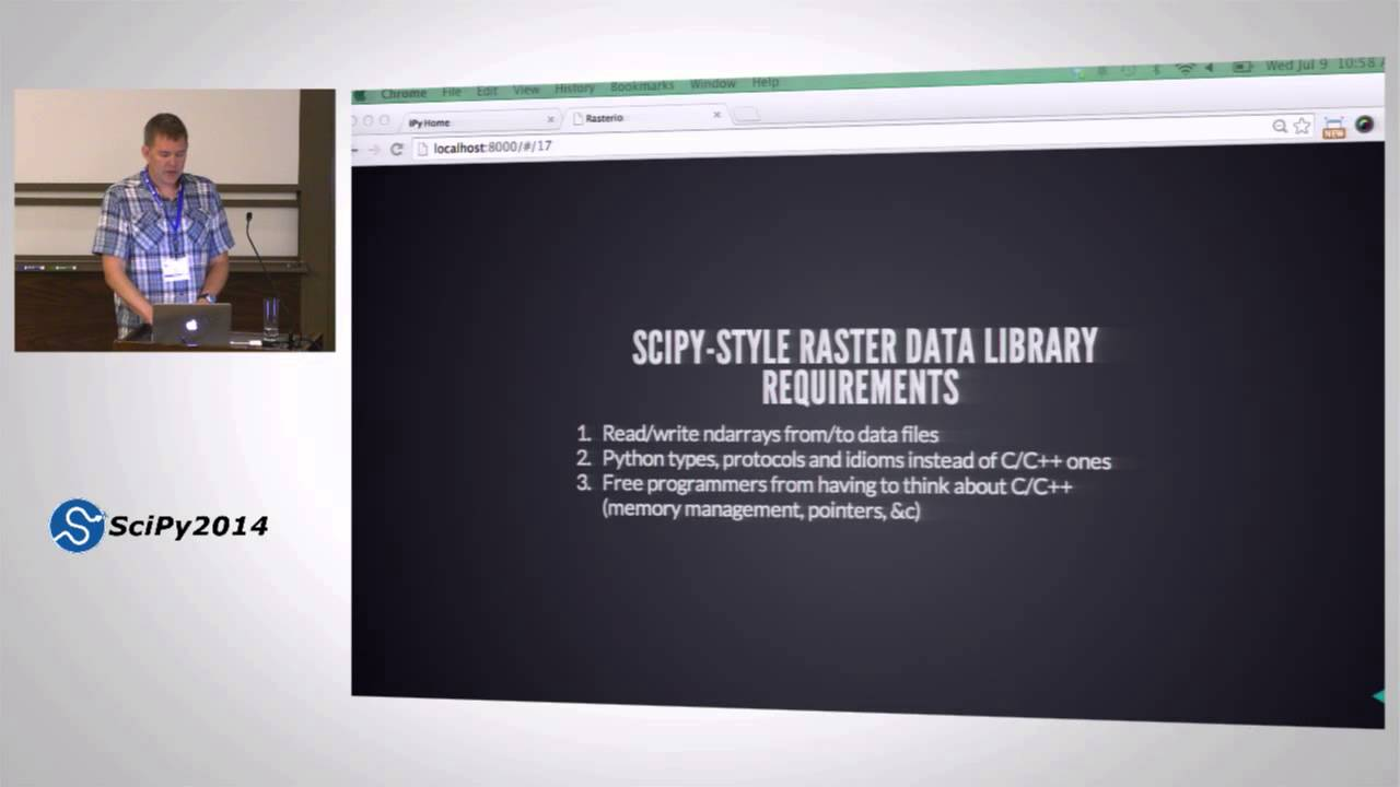 Rasterio Geospatial Raster Data Access for Programmers and Future  Programmers| SciPY 2014 | Sean G