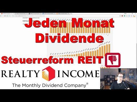 Jeden Monat Dividende - Realty Income - Investmentsteuergesetz - Immobilien Aktie [REIT]