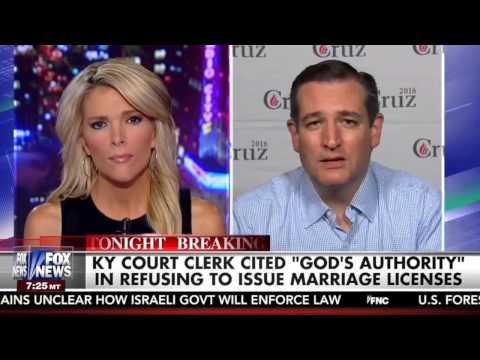 Ted Cruz on the Kelly File: I Stand with Kim Davis poster