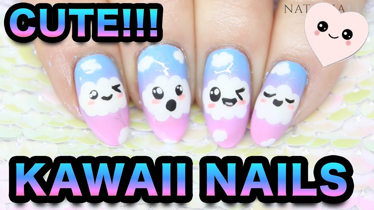 KAWAII NAIL ART - CUTE CLOUD FACES & RAINBOW SPONGING - YouTube