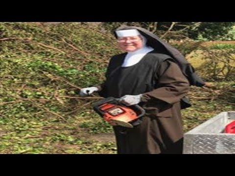 Epic NUN with CHAINSAW spotted during Hurricane IRMA Cleanup Efforts