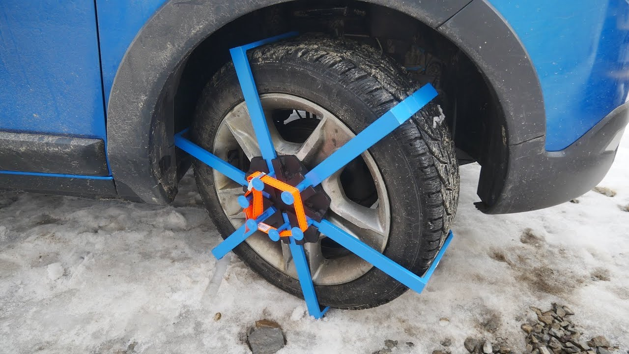 Homemade Car snow SPIDER CHAINS [Experiment]