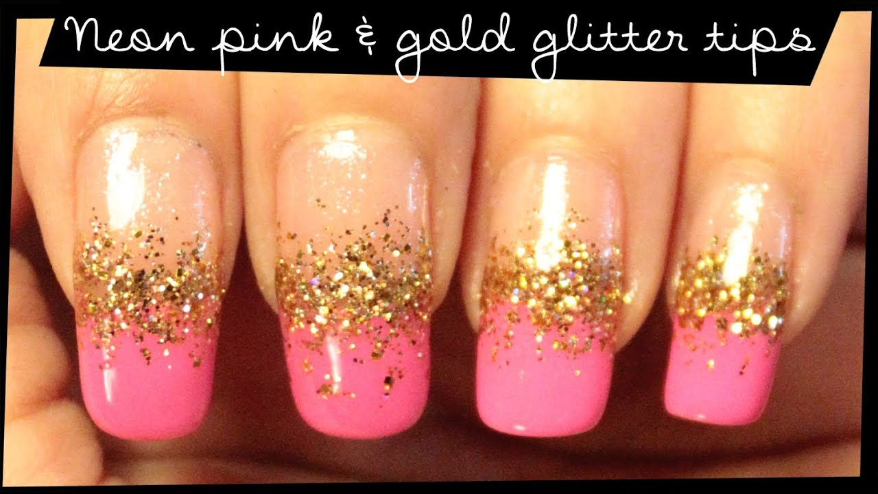 Neon Pink & Gold Glitter Tips nail art - YouTube