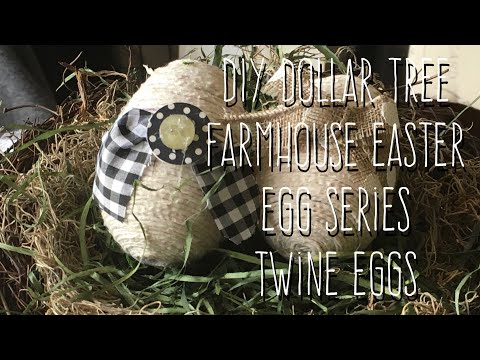 DIY Dollar Tree Farmhouse Easter Egg Series-Twine Eggs