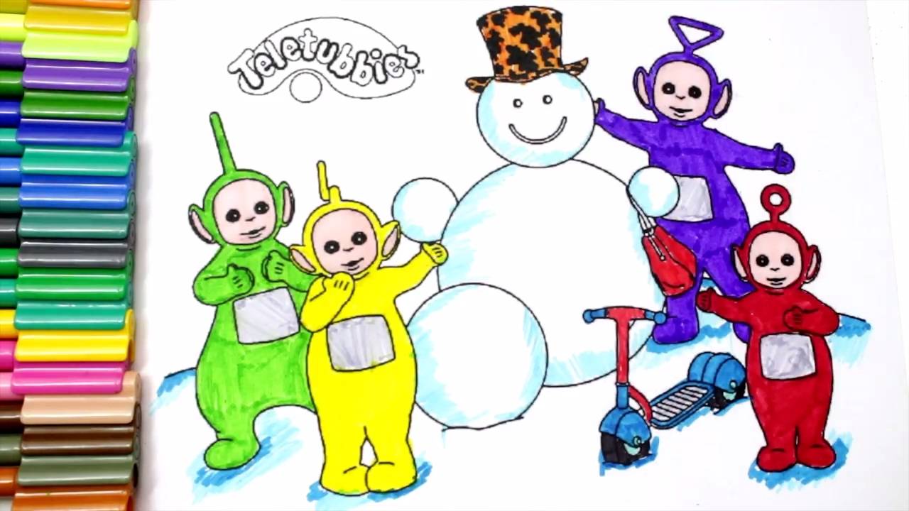 learn colors for kids and color teletubbies coloring page