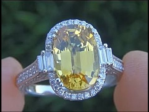 Vvs1 Clarity 6 53 Carat Yellow Sapphire Diamond Ring Estate Sale
