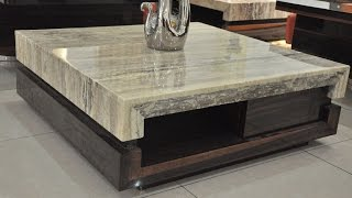 Modern Coffee Table | Burl Wood Coffee Table Glass Top