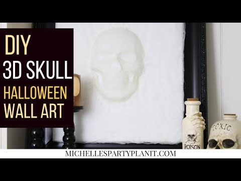 DIY 3D Skull Halloween Wall Art   Dollar Store DIY - Craft with Me!