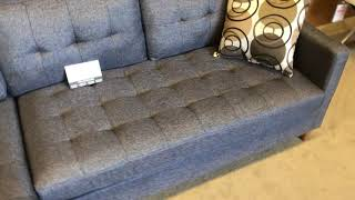 F7094 Blue Grey Tufted Sectional Chaise With Wood Legs