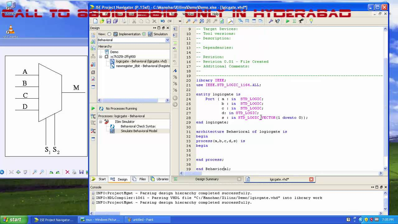 Vhdl Basic Tutorial On Multiplexers Mux Using Case Statement Youtube