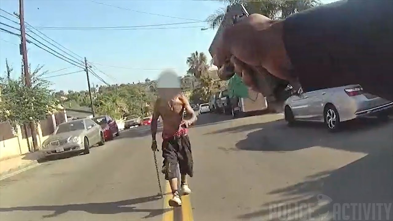 Bodycam Footage Of San Diego Officer Shooting Man Swinging Chain