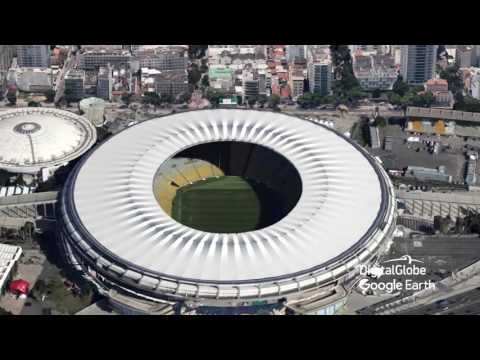 Maracana Stadium fly to and orbit
