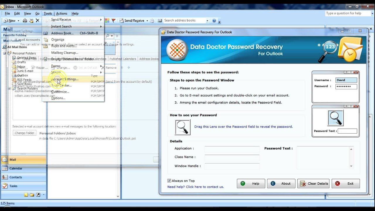 how to change password in microsoft outlook 2007