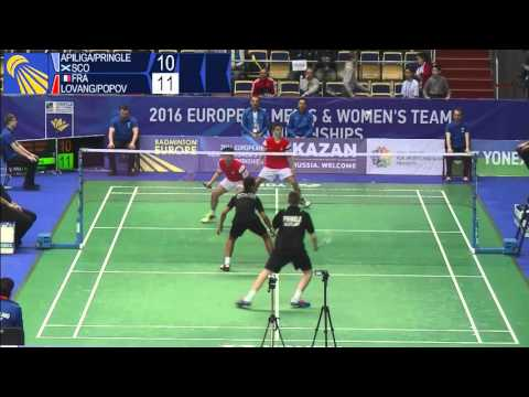 Badminton - Apiliga / Pringle vs Lovang / Popov - (MD, SF) European U15 C'ships 2016
