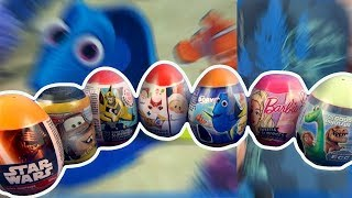 7 Surprise Eggs Opening Cars Star Wars Transformers Finding Dory Barbie Good Dinosaur Christmas #202
