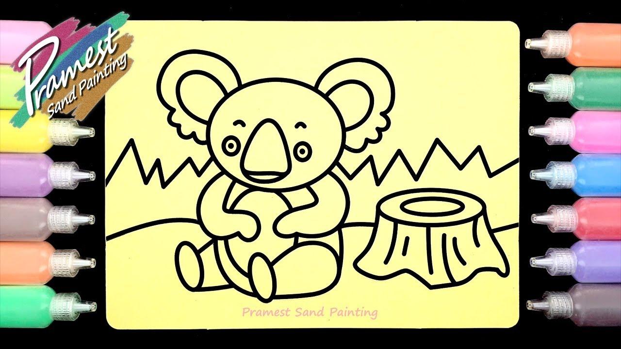 Mewarnai Gambar Binatang Koala Dengan Pasir Warna