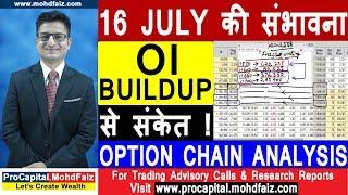 16 जुलाई की संभावना OI BUILDUP से संकेत | NIFTY OPTION CHAIN ANALYSIS