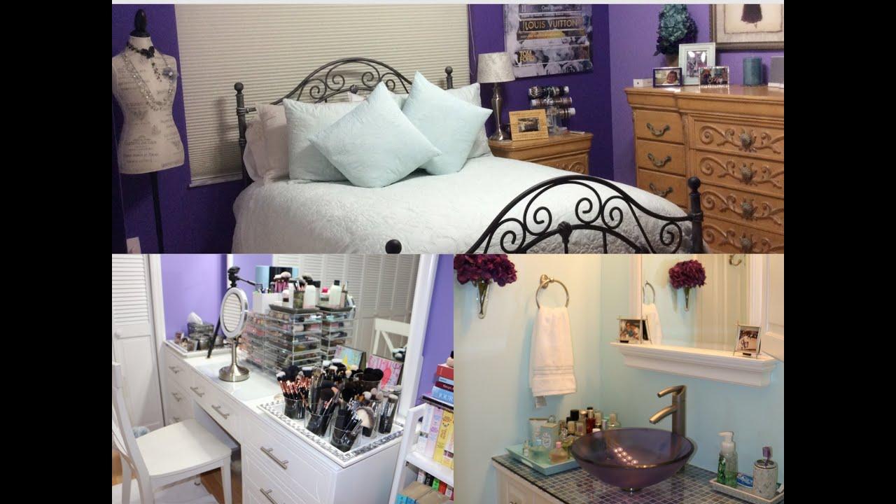 ROOM TOUR  Bedroom Makeup Room  Bathroom Tour  YouTube