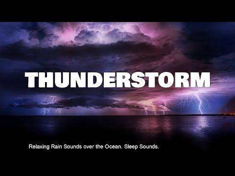 Rain THUNDERSTORM Sounds over the Ocean, 8 hours Sleeping Music
