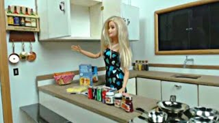Barbie doll Kids Kitchen Routine