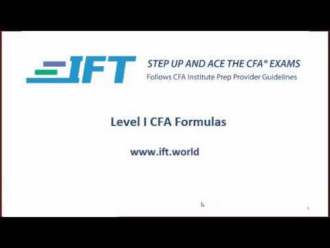 2017 Level I CFA Formula Video