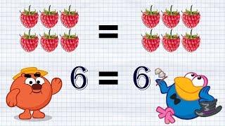Скачать Смешарики развивающий мультик Математика для детей со Смешариками Решаем примеры больше меньше