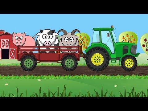 Animalele Domestice Si Tractorul La Ferma - Recunoaste Silueta - Filmulețe Desenate Educative