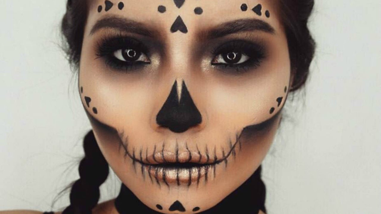 Skull Face Halloween Makeup Youtube - Halloween-face-makeup