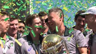 Australia celebrate winning the Cricket World Cup 2015 at Federation Square, Melbourne