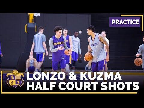 Lonzo Ball, Kyle Kuzma Half-Court Shoot Out Competition