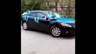 Оформление свадебного авто в синем цвете
