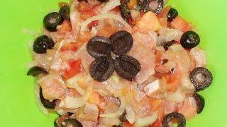 Амурский салат с красной рыбой / Salad with chum