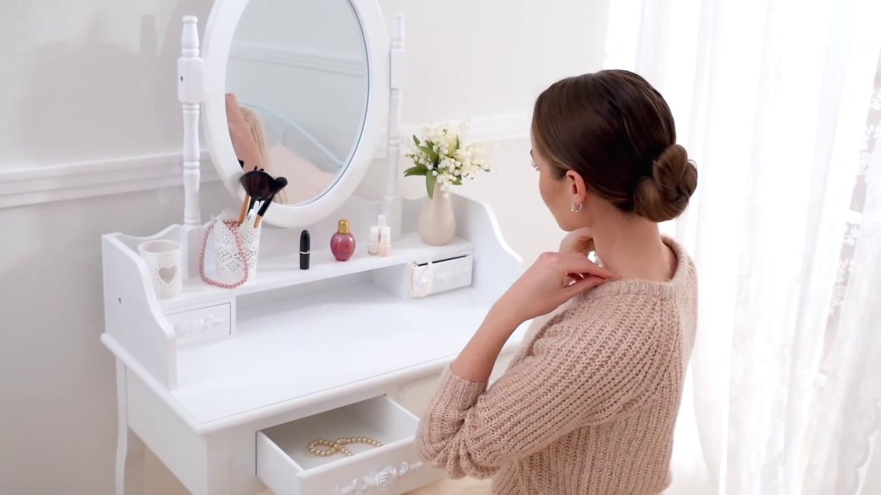Tavolino da trucco toeletta con specchio e sgabello effetto