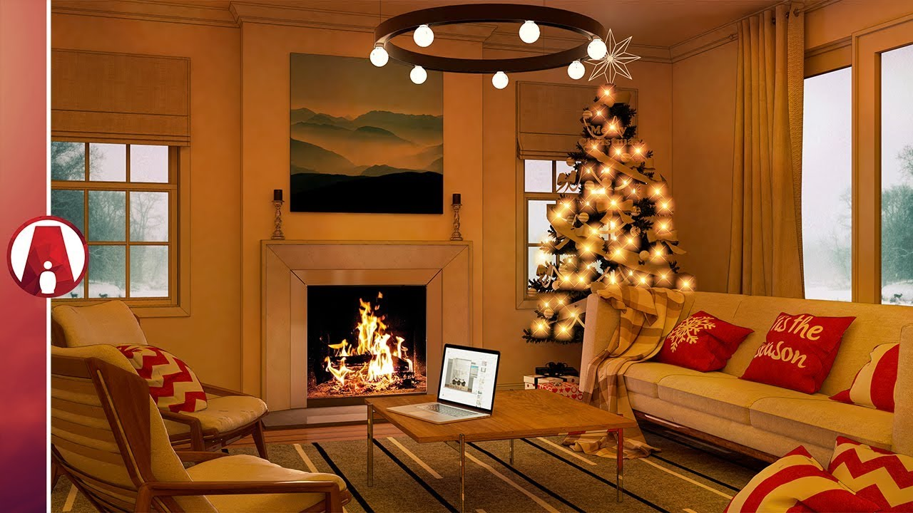 Christmas Living Room Rendering Tutorial Vray 3 For Sketchup Beta