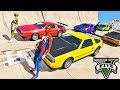 CARROS com Homem Aranha e Heróis! Carros que Voam na Mega Rampa - GTA V Mods - IR GAMES