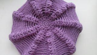 Берет крючком с пышными столбиками ( knitted takes) (Шапка #9)