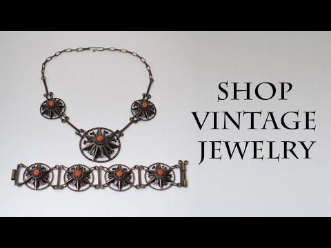 Vintage jewelry sets 1940s Rare Collectible Coral Copper bracelet & necklace
