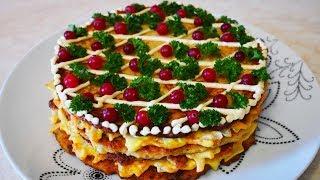 ИДЕАЛЬНАЯ ЗАКУСКА рецепт КУРИНОГО торта СЫТНО и очень ВКУСНО!!!
