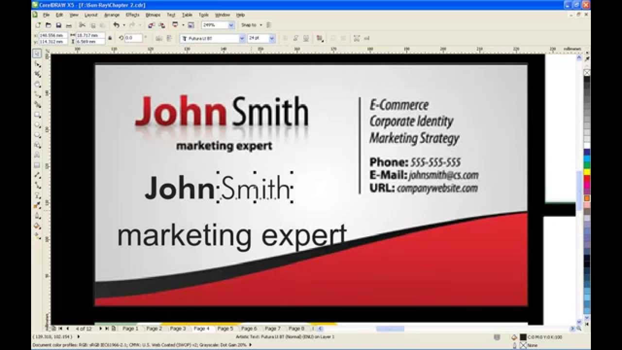 visiting card design in coreldraw tamil DVD free video - YouTube