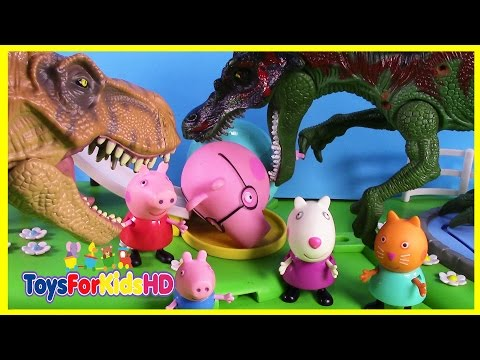 Peppa pig  Dinosaurs for kids attack the city  videos de peppa pig  Peppa pig