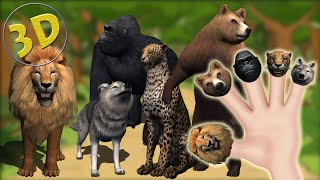 3D Wild Animals Finger Family | Daddy Finger 3D Nursery Rhyme | Animal Sketch Song For Children