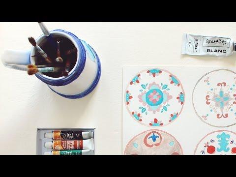 Gouache Experiments: Italian Plates   Painting Time Lapse