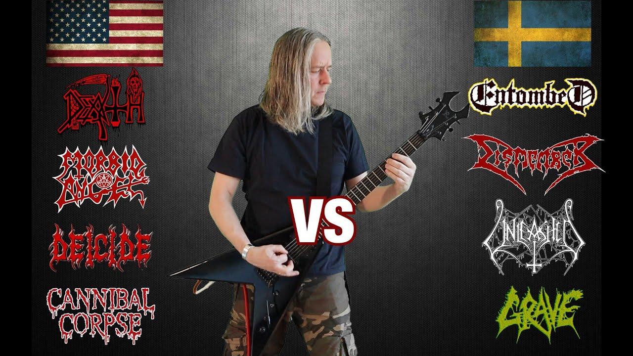 American Big 4 VS Swedish Big 4  (Death Metal Guitar Riffs Battle)