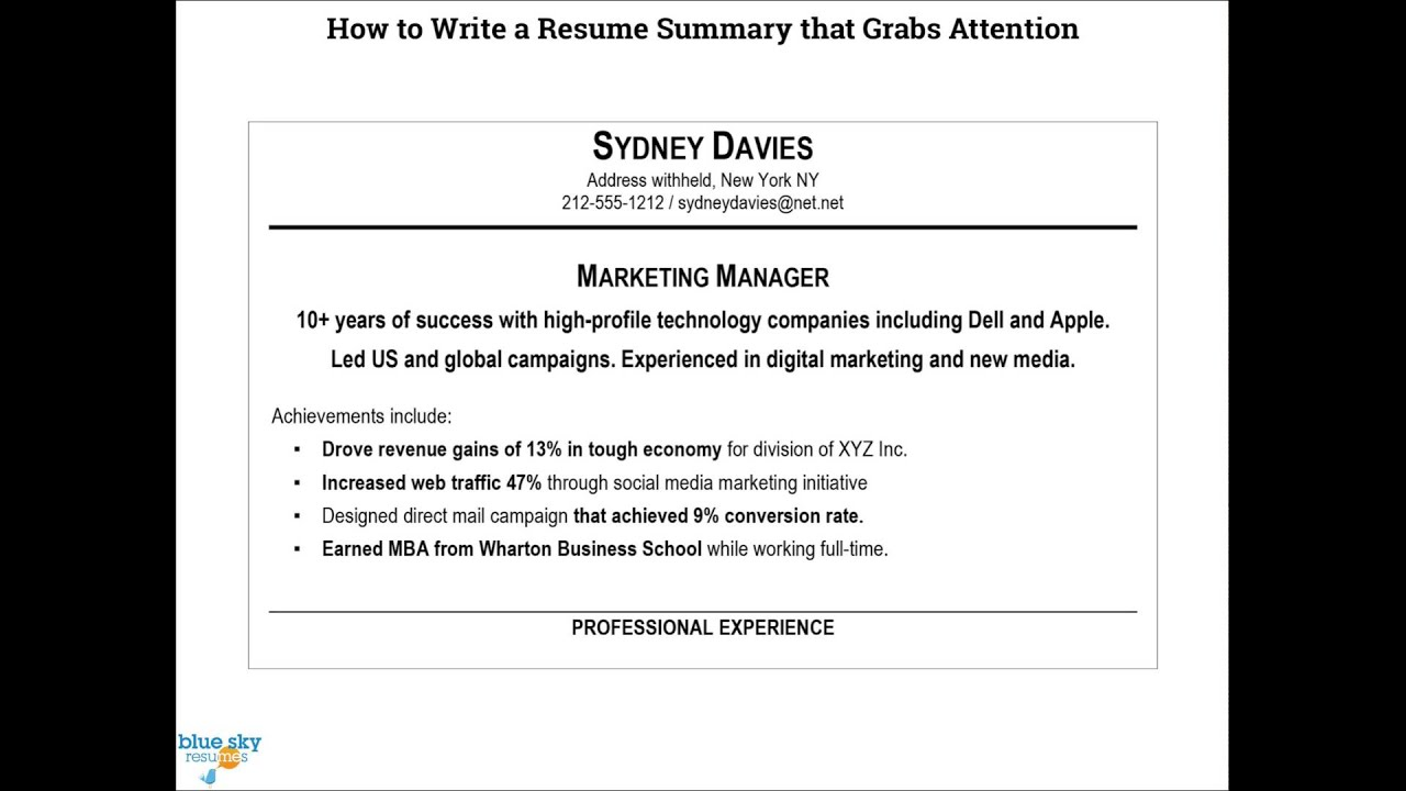 how to write a resume summary youtube - Professional Summary Resume