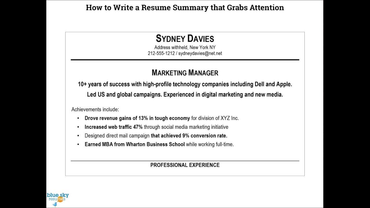 how to write resume professional summary