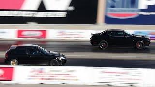 Boosted Turbo Honda Civic Vs. Dodge Challenger Hellcat | Drag Race
