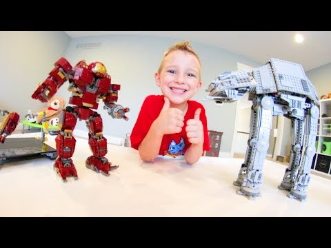 FATHER SON ULTIMATE LEGO BATTLE! /Hulk Buster VS AT AT WALKER!