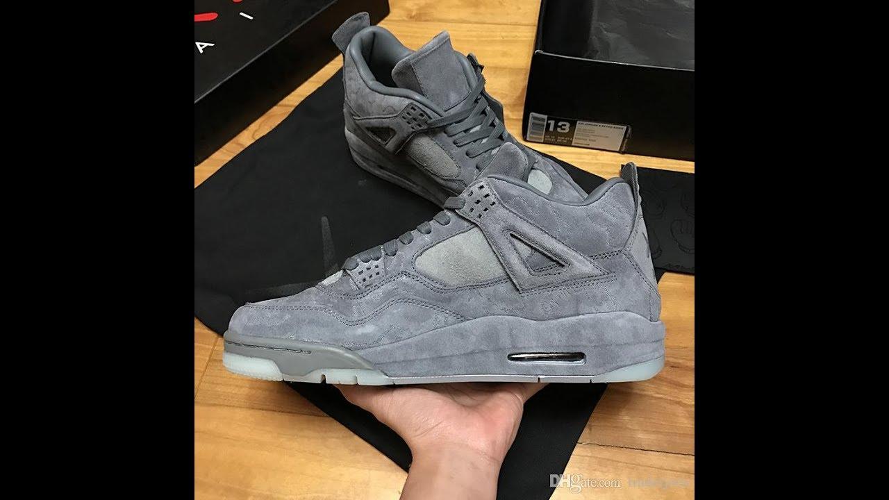 c6f5a5a2b85 2017 Mens New Retro KAWS x Air 4 Basketball Shoes Sneakers - YouTube