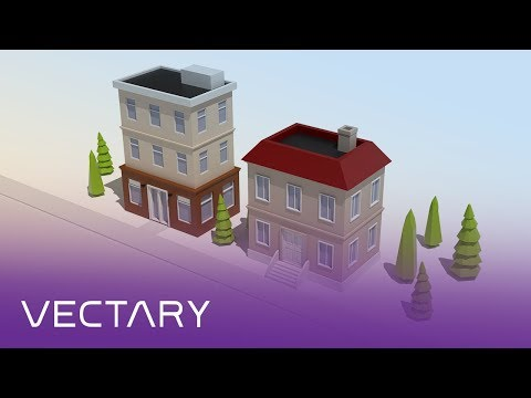 Cute houses | VECTARY live 3D modeling